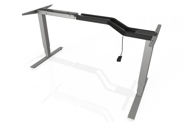 S² + Steh-Sitz-Schreibtisch Gestell mit 660mm Hub mit Handschalter auf/ab in silber