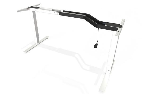 S² + Steh-Sitz-Schreibtisch Gestell mit 660mm Hub mit Handschalter auf/ab in weiß