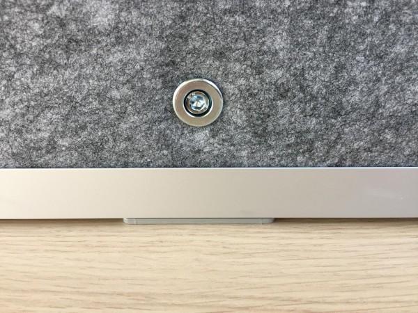 Akustik-Trennwand, grau-meliert, mit Rahmen, 180cm