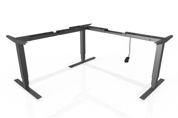 S³ Steh-Sitz-Schreibtisch Gestell mit 660mm Hub mit Handschalter auf/ab in schwarz