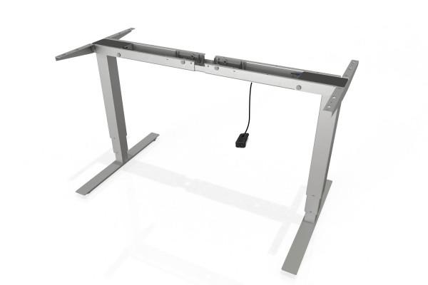 S² Steh-Sitz-Schreibtisch Gestell mit 660mm Hub mit Handschalter auf/ab in silber