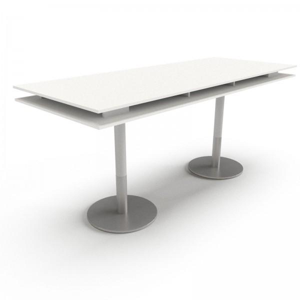 Konferenztisch PLUS: Säulenfuß, Rechteckform, Tischplatte Doppelvariante, 110cm Höhe